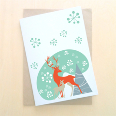Christmas Greeting Card, Recycled Cardstock, Blank, Winter Forest