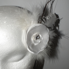 White Bridal Wedding hair clip peacock feathers satin handmade Bride diamonte
