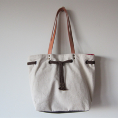 Eco Friendly 100% Natural Linen Drawstring Tote Bag - Dotted Leaves