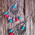 Chandelier Baked Porcelain & Tibetan Bead Earrings