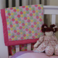 Baby blanket - Hot pink and pastel spots