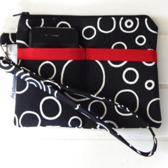 Wristlet Pouch Purse in Black and White Bubble Fabric Design