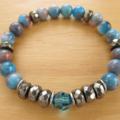Jade and Pyrite Semi Precious Stone Gemstone Swarovski Crystal Stretch Bracelet