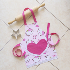 Kids/Toddlers Apron - girls lined kitchen/play apron - Hello Kitty