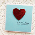 Christmas Love card red glitter heart - To the one l love Wife Husband