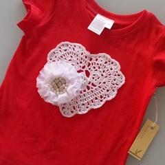 Girls Blingy Rosette & Heart Doily Tee Shirt  - Red Size 2 Christmas