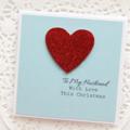 Husband Christmas card love heart glitter red