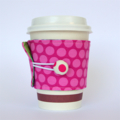 Coffee Cup Cuff/ Cosy - Pink Fushia Spotty Dots