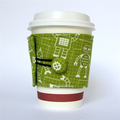 Coffee Cup Cuff/ Cosy - White cartoon robots on Olive Green