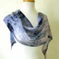 Silk Scarf - Hand Dyed - Indigo Blue - Gift Idea