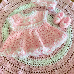 "Crochet Pink & White Doll Clothes & Wrap Size 16"" or 40cm Doll"