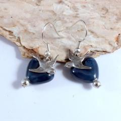 HEARTFELT FUNDRAISER Love Birds - ceramic heart earrings