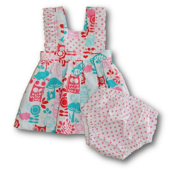 CLEARANCE... SIZE 00 Baby Girls Cotton Boo Pinafore SET - Forest Friends
