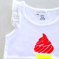 Sz 4~Hot Summer Day Singlet|Hand Printed|Icecream