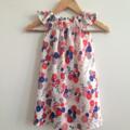 Abstract Flowers Flutter Sleeve Size 7 Dress