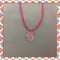 Glass Tile Necklace - Pink Butterfly