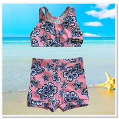 CLEARANCE... Pink Navy Hibiscus Girls Shorts Swimsuit Set - FREE POST