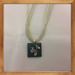 Glass Tile Necklace - Flowers and Butterfly