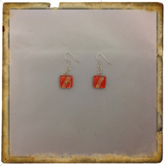 Glass Tile Earrings - Funky Orange and Gold