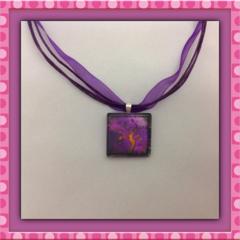 Glass Tile Necklace - Purple and Orange Tree
