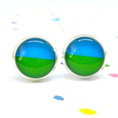 Mini resin stud earrings - Green & blue splice - Surgical steel posts