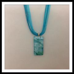 Glass Tile Necklace - Blue Wave
