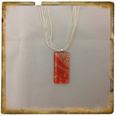 Glass Tile Necklace - Funky Orange and Gold