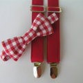 red bow tie and braces set - unisex, red gingham, photo shoot, formal,