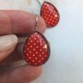 Red Polka Dot Teardrop Earrings