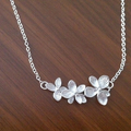 Triple Orchid Flower Necklace Silver, Best Friend, Sister, Gift