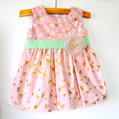 Golden Wings Baby Dress.  Pink, mint, metallic gold bird - size 00