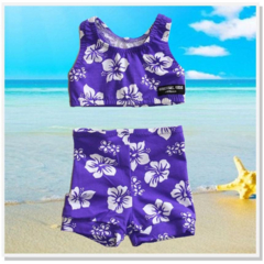 CLEARANCE... SIZE 0 Purple Hibiscus Girls Shorts Swimsuit Set - FREE POST