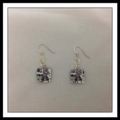 Glass Tile Earrings - Black and White Thistle