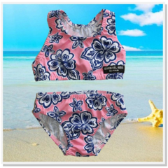 CLEARANCE... Pink Navy Hibiscus Girls bikini Swimsuit Set - FREE POST