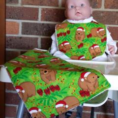 Aussie Christmas Wombat  Bib and Burp cloth set - Small.