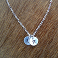 2 Initial Disc Necklace Gift - Silver, Personalised Gift Necklace