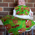 Aussie Christmas Wombat  Bib and Burp cloth set - Newborn.