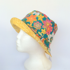 Green Flower & Spiral Reversible Bucket Hat - girls sizes 6 mths - 8 yrs, retro