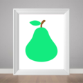 Pear print, kitchen poster, green pear art, print for my kitchen, home art