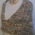 Knitted Shawl WITH EXOTIC SHAWL PIN IN SHELL DESIGN