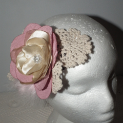 SALE Bohemian Vintage Love. pink neutral crotchet  sculptural headpiece Bride