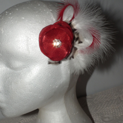 Red Black White Hairclip headpiece Christmas Bride Wedding Guest Raceday sparkle