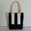 Black & White Striped Canvas Tote Bag with Leather Straps - FREE postage