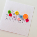 Buttons galore blank general birthday flowers blooms rainbow colours bright card