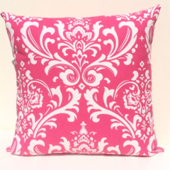 Candy Pink and White Damask Print Cushion Cover
