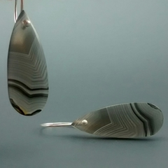 Striped Agate Sterling Silver Earrings