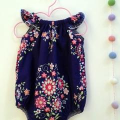 Summer Playsuit - blue floral, size 00