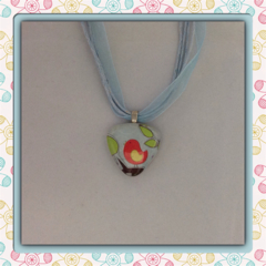 Glass Tile Necklace - Singing Bird