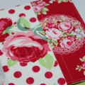 A5 NOTEBOOK JOURNAL -  red grey doily flower sugar quilted front