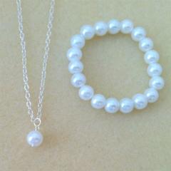 Little Girl Pearl Jewelry Set - Necklace, Bracelet, Flowergirl Gift